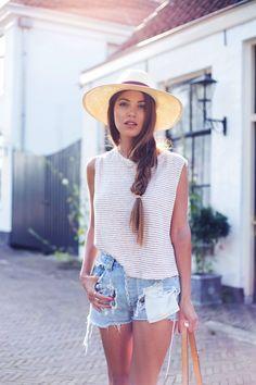 Summer hat, side braid, striped tee & cut-off ripped jean shorts #style #fashion #longhair #beauty #hair