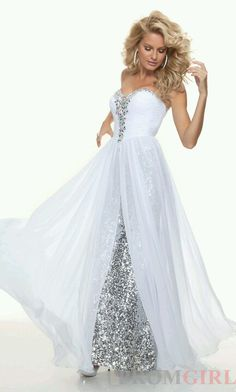 Sheath sweetheart long White sequined flowy prom dress with beadingProm Evening Dresses Put this in blue and it looks a lot like Dasaani's dress Flowy Prom Dresses, Sequin Evening Dresses, Pageant Dresses, Dance Dresses, Pretty Dresses, Homecoming Dresses, Evening Gowns, Formal Dresses, Wedding Dresses