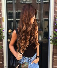 Long hair with golden brown color for beautiful faces