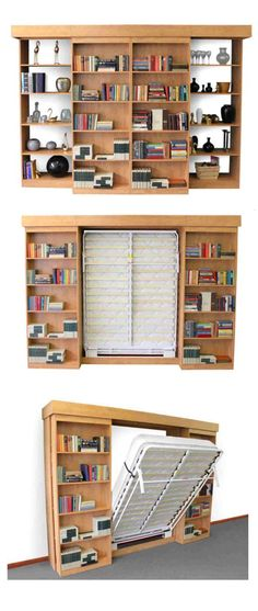 Sliding bookshelves reveal fold-down bed - Excellent. Sliding bookshelves reveal fold-down bed - Exc Cama Murphy, Murphy Bed Ikea, Murphy Bed Plans, Fold Down Beds, Hidden Bed, Folding Beds, Space Saving Furniture, Furniture Ideas, Ikea Furniture