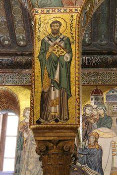 Un mosaico del XII secolo di Sant'Agostino nella  Cappella Palatina  di Palermo.