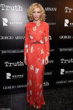 Fiery show: Cate Blanchett delivered in the style department by wearing an orange floral g...