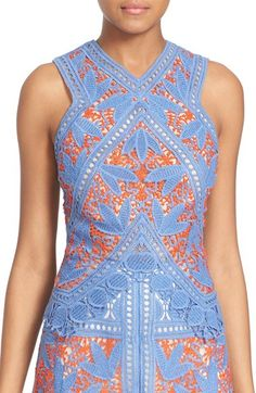 TORY BURCH 'Evie' Sleeveless Lace Top. #toryburch #cloth #