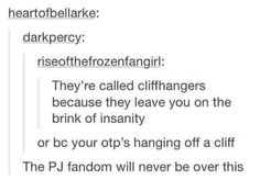 Don't make jokes about Percabeth falling into Tartarus and cliffhangers. Everything because of Rick Riordan! Percy Jackson Memes, Percy Jackson Books, Percy Jackson Fandom, Percy And Annabeth, Annabeth Chase, Fandoms Unite, Rick E, Trials Of Apollo, Leo Valdez