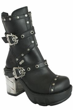 Demonia Sinister 201 Black Chunky Heel Boots Gothic Steampunk Cyber Punk