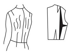 Illustration depicting pattern alteration of bodice for narrow back