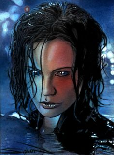 Selene Underworld Sketch Card, in Randy Siplon's Sketch Cards Comic Art Gallery Room Underworld Selene, Underworld Movies, Fantasy Movies, Fantasy Characters, Underworld Kate Beckinsale, Werewolf Hunter, Vampire Pictures, Vampire Girls, Female Vampire