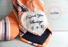 Groom Gift. Groom Gift from Bride. Hand Embroidered Tie Patch. Wedding Embroidery. Groom Tie. Necktie. Wedding. Mens Ties. Wedding Keepsake.