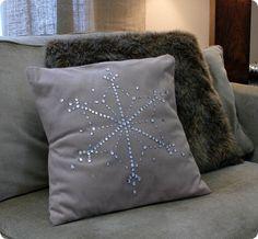 DIY Bling snowflake pillow.