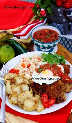 Silpancho - step-by-step photos to making this popular Bolivian meal with a thin cut, pan fried beef cutlet topping seasoned rice and caramelized potatoes, all topped with salsa and a soft fried egg.