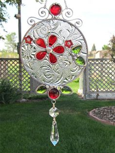 Stained Glass Suncatcher with Crystal Prism Home por JasGlassArt