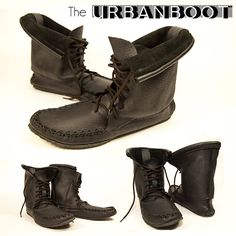 The Urban Boot made from black moose hide with a crepe sole. Men's Footwear, Daily Fashion, Moose, Combat Boots, Canada, Urban, Leather, Handmade