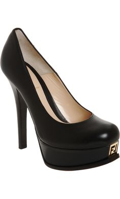 I'm loving the grill logo on the platform of these pumps! Kina makes you want to kick something...just so you can see that Fendi signature ;p (Leave your mark <3) ~ Barneys New York: Fendi Platform Pump