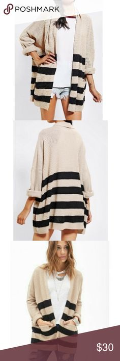 BDG Striped Roll Sleeve Cuff Excellent condition BDG from Urban Outfitters Striped Roll Sleeve cuff cardigan. Has oversized, body fit. No snags or flaws - has been sitting in my closet. Urban Outfitters Sweaters Cardigans