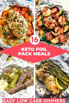 Easy Low Carb 30 Minute Foil Packet Dinners For The Grill - Easy Keto Foil Packs make the best low carb summer dinner meals ready in 30 minutes or less! Whether you prefer chicken, shrimp, sausage, veggies, pork or fish you'll fin Foil Packet Dinners, Foil Pack Meals, Low Carb Dinner Recipes, Keto Dinner, Healthy Recipes, Healthy Meals, Paleo Food, Nutritious Meals, Carb Less Meals