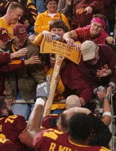 The Paul Bunyan Axe - the coveted award for the winner of the Minnesota and Wisconsin game!
