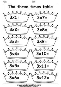 Multiplication Times Tables Worksheets – 2, 3, 4, 6, 7, 8, 9, 10, 11, 12, 13, 14, 15, 16, 17, 18, 19 & 20 Times Tables