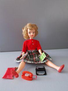 Tammy Doll, Kitten Heel Shoes, School Daze, Wool Skirts, Wool Dress, Vintage Dolls, Corduroy, Tartan, 1960s