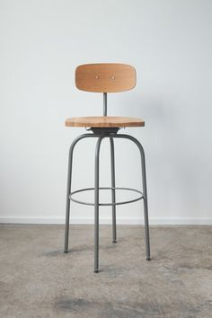The Barbican Oak and Steel Bar Stool by hedgehouse