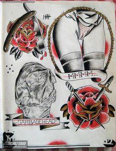 Plantilladiseño Tatuaje De Lesharroyo Rosas Old School