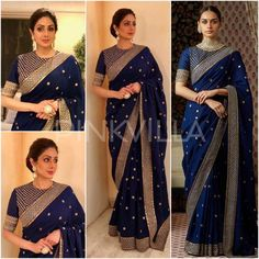Buy Navy Georgette Embroidered saree with unstitch blouse Online - Buy Navy Georgette Embroidered saree with unstitch blouse Online Source by shreyanshin - Saree Blouse Neck Designs, Fancy Blouse Designs, Indian Wedding Outfits, Indian Outfits, Saree Wearing Styles, Saree Styles, Stylish Blouse Design, Saree Trends, Stylish Sarees