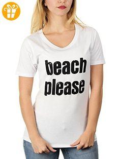 beach please - Damen T-Shirt von Kater Likoli, Gr. S, Weiß (*Partner-Link)