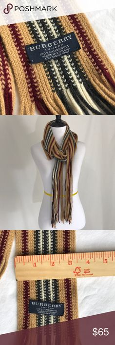 """Authentic Burberry Lambswool Skinny Scarf One owner- authentic  Unique skinny scarf  Approximately 132"""" long including fringe Burberry Accessories Scarves & Wraps"""