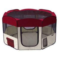 Eyourlife® Portable 45″ Pet Puppy Dog Playpen Exercise Pen Kennel Burgundy | Dog Supplies