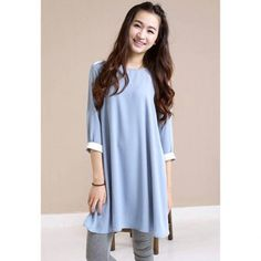 Sweet Style Scoop Neck 3/4 Sleeves Solid Color Chiffon Women's Dress