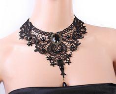 SALE black lace choker bib necklace // gothic stone by LaceFancy