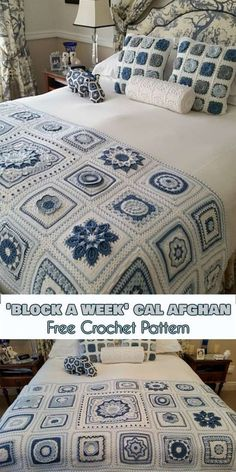 Crochet Granny Square Patterns 'Block a Week' CAL Afghan [Free Crochet Pattern] Crochet Afghans, Crochet Square Blanket, Crochet Squares Afghan, Crochet Bedspread, Crochet Quilt, Granny Square Crochet Pattern, Crochet Blocks, Afghan Crochet Patterns, Crochet Home