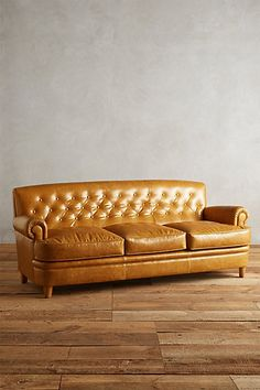 Leather Kimmeridge Sofa #anthropologie Comes in grass green.