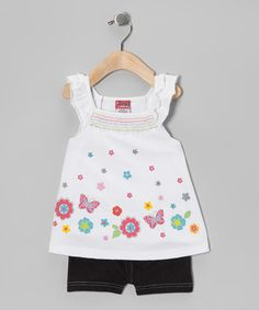Take a look at this White Butterfly Flower Tunic & Shorts - Infant & Toddler by Angel Face on #zulily today!