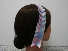 Civil War Hair Net  Blue and Pink Plaid by southroncreations