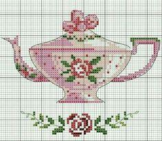 #crossstitch #kanaviçe #pembe #çiçekli #pink #teapot #rose #tatlış