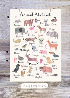 Animal Alphabet Print Nursery Print Nursery Art Print