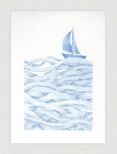 Sailboat illustration blue print of watercolor painting от VApinx