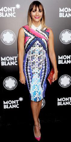Rashida Jones helped Montblanc honor Quincy Jones in a colorful Peter Pilotto sheath, geometric Roger Vivier clutch and studded Valentino Garavani pumps.