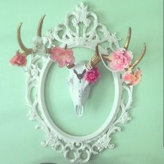 White Faux Taxidermy | We are dying over this great photo shared by one of our clients @sarahkops our faux deer skull is looking beautiful! We love what she has done with it!