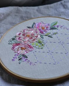 Embroidery pattern PDF digital download Roses and Sashiko