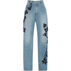 Jonathan Simkhai     Embroidered High Rise Stove Pipe Pants ($1,495) ❤ liked on Polyvore featuring jeans, pants, bottoms, blue and jonathan simkhai