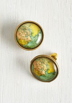 Map Out of It! Earrings, @ModCloth