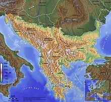 Albania, Bosnia and Herzegovina, Bulgaria, Kosovo, Macedonia, Montenegro, and partial neighbors Croatia, Greece, Italy, Romania, Slovenia, Serbia, Turkey