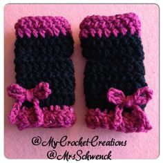 Made These For A Special Friend of Mine!! Happy Bday To You Black Crochet Fingerless Gloves. Pink sequins Trim and Matching Bows:)