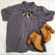 Denim Button Up Shirt Muted purple denim button up shirt. Classic staple item for any style! Fits medium or small. Necklace and FOB shirt are also available on separate listings! (Not brand listed only for exposure). Don't love the price? Make an offer! Selling for cheaper on Ⓜ️ Forever 21 Tops