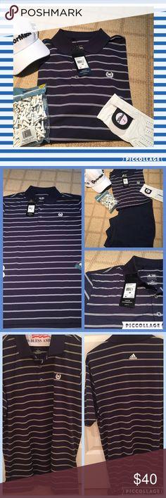 🏌Men's adidas golf shirt🏌 ⛳️NWT- men's adidas pure motion adidas goldf shirt. Navy w white stripes (thin triple- striped).⛳️ Adidas Shirts Polos