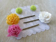 Gift set for girls hair pins and post earrings by PaigeandPenelope, $16.00, Easter basket stuff, gift under 20