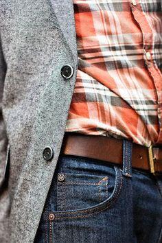 Men's Grey Blazer, Orange Plaid Long Sleeve Shirt, Navy Jeans, Brown Leather Belt