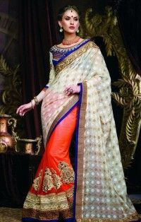 precious-off-white-orange-embroidered-work-designer wedding sari