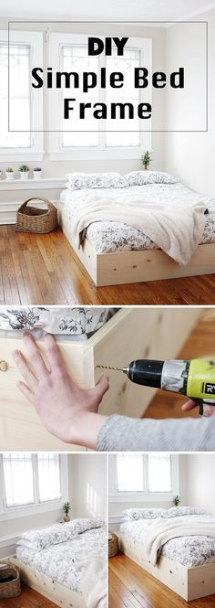 hat heimweh 36 Easy DIY Bed Frame Projects to Upgrade Your Bedroom DIY Simple Bed Frame > by [author_name] Simple Bed Frame, Diy Bed Frame, Bed Frames, Easy Frame, Diy Queen Bed Frame, Build Bed Frame, Diy Décoration, Easy Diy, Diy Crafts
